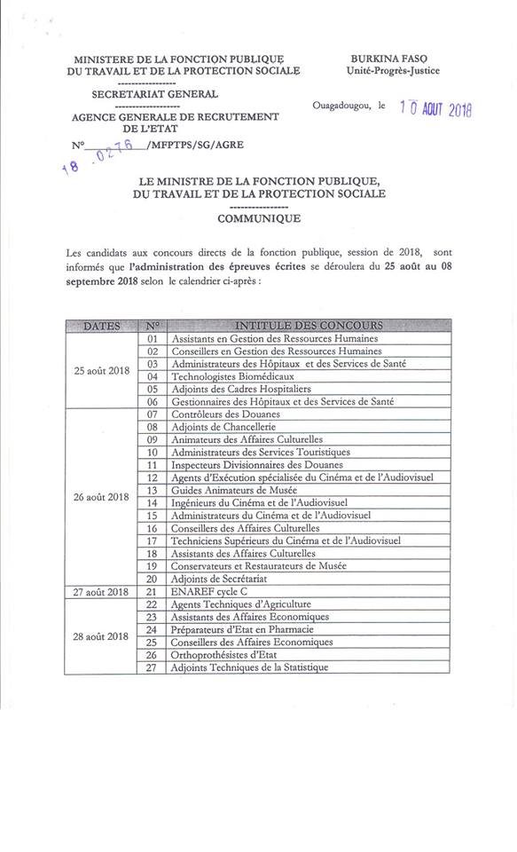Calendrier concours directs 2018-1