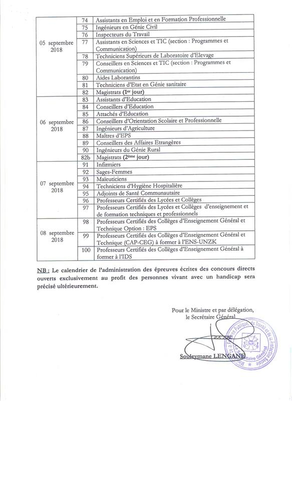 Calendrier concours directs 2018-3