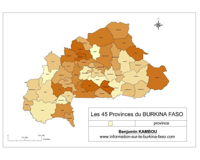 Les 45 Provinces du BURKINA FASO